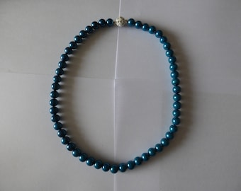 Chunky Hand Made Glass Bead Necklace Brilliant Blue