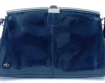 Classic Vintage Smart Navy Blue Leather Handbag by Kurhapies Elda Spain, Spanish Leather Handbag