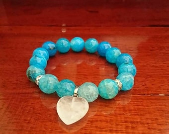 Faceted Turquoise Agate Bracelet.