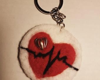 Keyring felted Cardio Heart