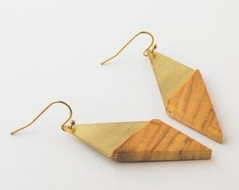 Olive wood natural eco recycled elegant minimalist earrings