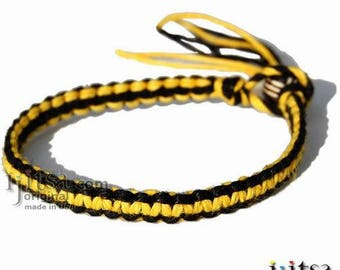Black and Yellow Hemp Surfer Bracelet or Anklet