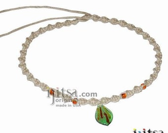 Natural Twisted Hemp, Green/silver leaf Glass Pendant Surfer Style Choker Necklace