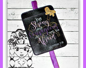 """BOOKMARK BookBand """"BE STRoNG and COuRAGEOUS"""" & LiON , Joshua 1-9 ~ In the Hoop ~ Downloadable DiGiTaL Machine Embroidery Design by Carrie"""