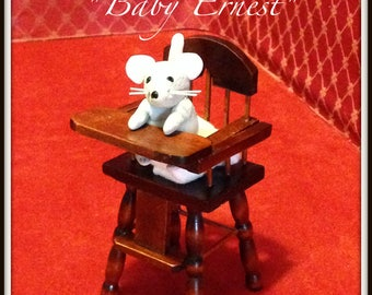 Miniature mouse BABY ERNEST, Ernest Rattendish, handmade mouse character, baby mouse by The Sausage