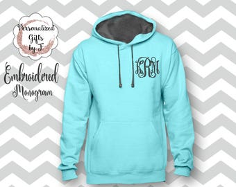 Monogrammed Hoodie, Personalized Pullover Sweatshirt, Monogrammed gift for Her, Gift for Wife, Girlfriend Gift, Sister Gift Hoody