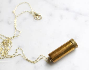 Vintage 40's Brass Canister Vial Necklace | Princess Eve Products Corp. Number 1