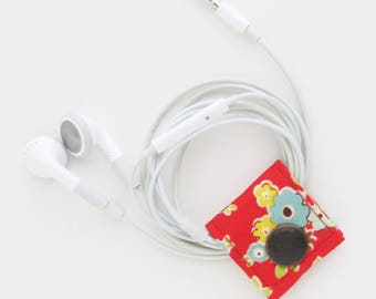 Extra Small Earbud Cord Keeper | Cotton fabric (vegan) earbud headphone organizer holder for small cords.