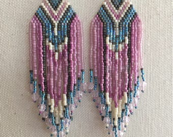 Santa Fe - Pink and Blue Wild Heart Southwestern Bohemian Fringe Earrings