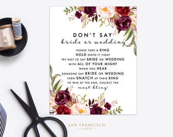 Ring Game - Don't say BRIDE or WEDDING - Bridal Shower Game - Holly Collection - Instant Download PDF File