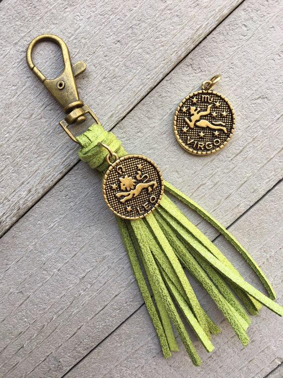 "August Birthday Gift - Peridot Green Shimmer Tassel with Leo or Virgo Zodiac Charm - 3.5"" Mini Tassel, Tassel Purse Charm, Handbag Charm"