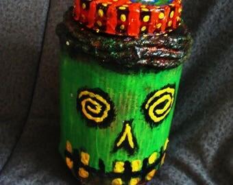 Vodou Inspired Skull Stash/Altar Jar Papier Mache