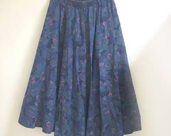 Midi floral skirt blue purple m/l