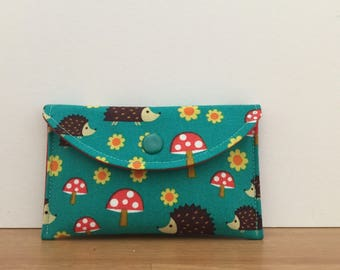 Womens Card Case Mini Wallet in Teal Hedgehogs