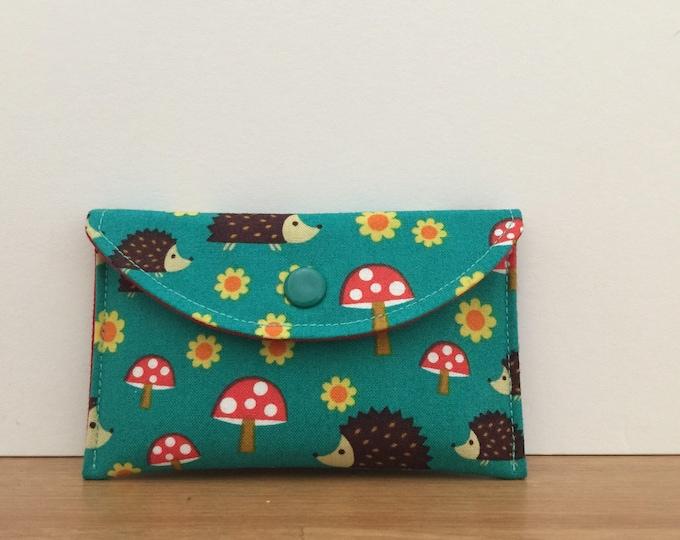 Womens Card Case Mini Wallet in Teal Hedgehogs