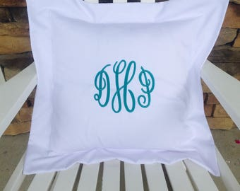 White Monogrammed Pillow Cover with Flange Custom Sizes Personalized Bedroom Boutique