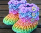 Pastel Rainbow Baby Booties  Baby Shoes Crochet Baby Booties  Rainbow Crib Shoes 0-6 months