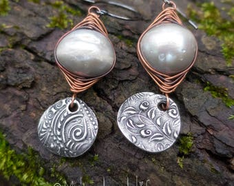 Wire-wrapped Freshwater Pearl Earrings || Wabi Sabi | Mix-matched | Boho Chick | Flower Child | Bride | Woodland Wedding l Earrings Under 25