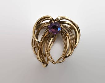 Vintage Wells 14kt Gold Filled Purple Glass Stone Pin