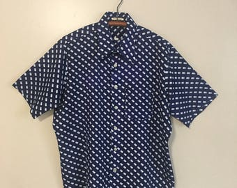 1970s Mens Blue Wing Collar Dotted Disco Shirt Size Large XL
