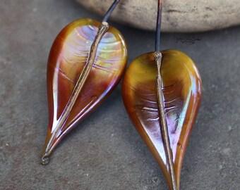 Autumn - Handmade Lampwork Glass HeadPins - One of a Kind Head Pins - SRA Elasia OOAK
