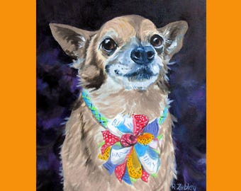 Chihuahua Art, Custom Chihuahua Portrait Oil Painting, Custom Pet Portrait, Oil Painting from Photos, Artist Robin, Dog Portrait, Tiny