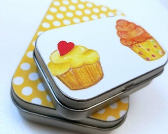 Large hinge tin and Medium hinge tin Duo. . . Sweet yellow with some yummy cupcakes .  . .