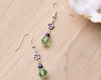 Green Flower earrings - Snowflake obsidian gemstones with silver flowers and green bead dangles | Floral jewellery | Flower jewelry