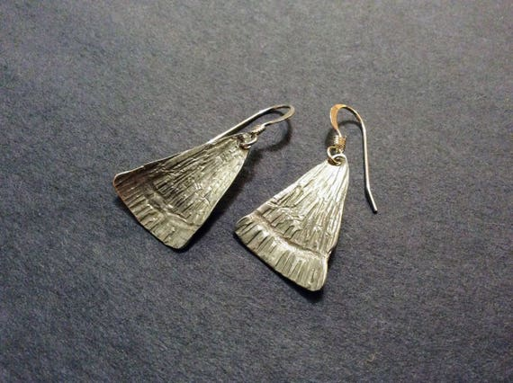 Hammered sterling silver triangle minimalist earrings -ready to ship