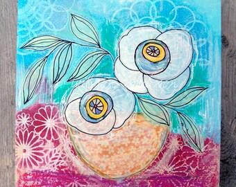 floral, bloom, blossoms, still life, fresh art, floral art, bowl, contemporary art, 10x10, original art, painting, white, pink, blue, decor