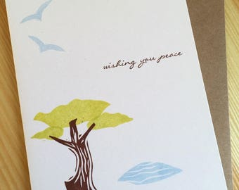Sympathy Card - Wishing You Peace Note Card - Peace Card - Peace Sympathy Card - Coastline - Shore - Hand Printed Greeting Card
