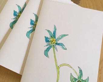 Floral Watercolor Blank Note Cards - Garden Tomatoes in Blue - Blue Flower Note Cards - Botanical Watercolor Cards - Box of 6