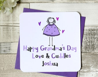happy grandma's day, mother's day card, gran card, personalised card, nanna card, nana card, mum card, meemaw card, granny card, uk seller