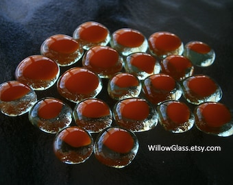 Fused Glass Cabochons 21 Orange over Grass Green, Glass Cabochons, Glass Cabs, Willow Glass