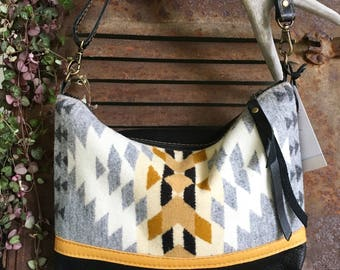 Handcrafted Leather and Wool Crossbody Bag