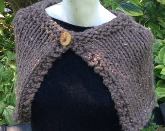 Brown Tweedy Handknit Capelet Wrap Shawl with Reclaimed Wood Button