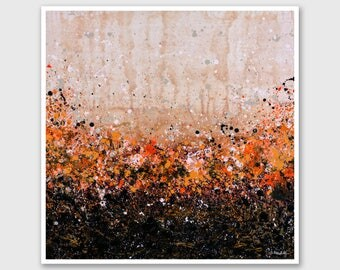 """Abstract PRINT of Painting """"Autumn Joy"""" by Lisa Carney - Floral Abstract, Landscape, Large wall art, Giclee, Modern painting, Orange, Brown"""