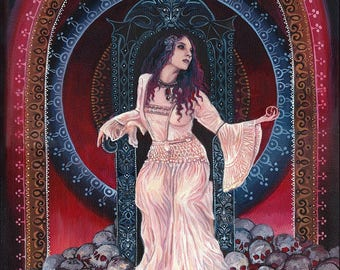 Persephone Queen of the Underworld 11x14 Giclée Fine Art Print on Canvas Pagan Mythology Bohemian Gypsy Witch Goddess Art