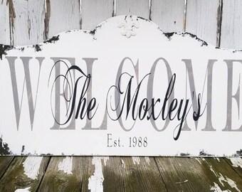 Welcome Sign | CUSTOM ESTABLISHED SIGN |  Vintage Wedding Sign | Last Name Family Sign | Established Sign | Shabby Chic Name Sign | Rustic