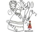 Frida Kahlo cut-out paper doll printable template by Danita (Digital Download)