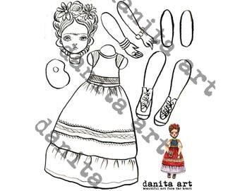 Frida Kahlo cut-out paper doll printable template by Danita (Digital Download)