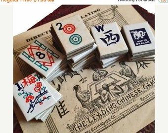 SALE 4pcs MAH JONG Tiles Antique Vintage Paper Ephemera Cardboard