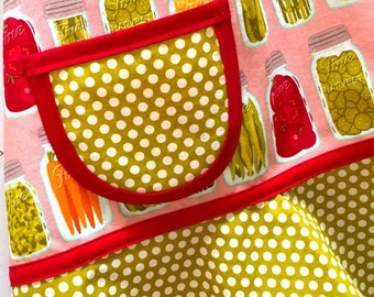 Canning Jars Girl's Apron, Child, Kids, Toddler, Produce, Veggies, Fruit Apron, Red, Pink, Green, Orange - CANNING JARS