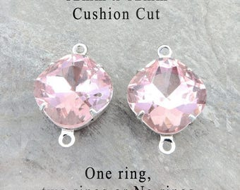 Pink Glass Beads - Cushion Cut Octagons in Silver or Brass Settings - 12mm x 12mm - Rhinestone Glass Gems - One Pair