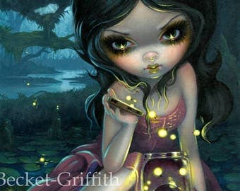 Releasing Fireflies fairy art print by Jasmine Becket-Griffith 8x10 lightning bug firefly southern gothic swamp summer