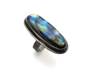 Big Sterling Silver and Labradorite Cocktail Ring - Size 9 OOAK
