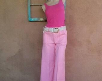 ON SALE Vintage 1970s Pink Bell Bottoms 70s Pants Big Pockets W28