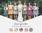 Vintage style mismatched floral bridesmaids dresses floral cap sleeve tea dress summer wedding flowers