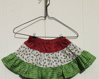3-Tiered Baby Christmas Skirt Size 12 Month Ready to Ship