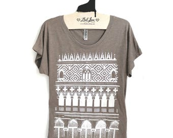SALE Large-  Tan Dolman Tee with Venice Screen Print
